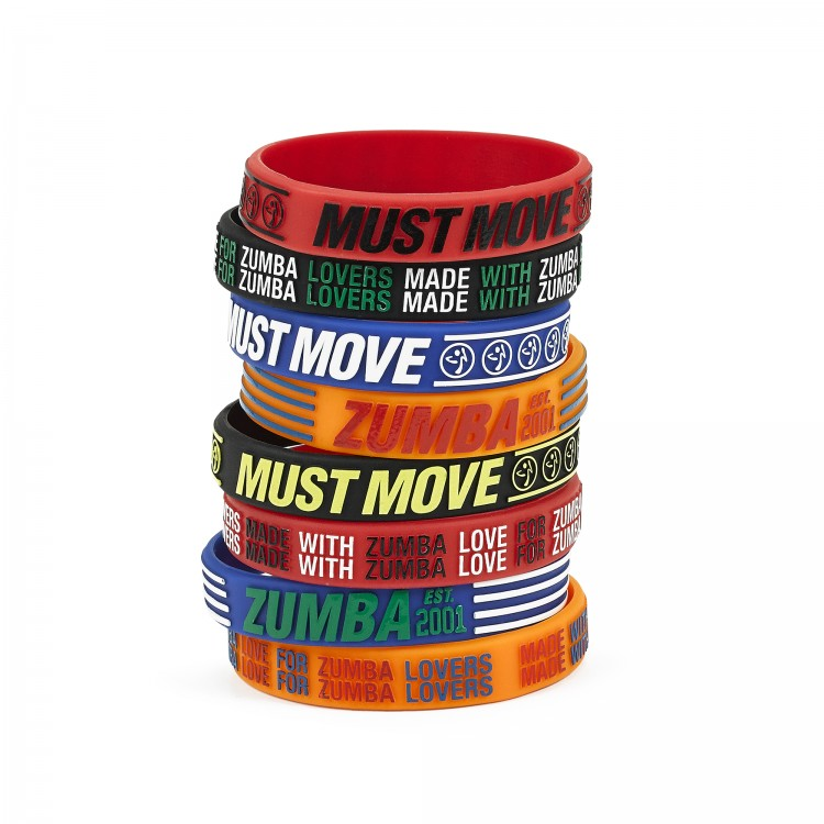 Zumba Must Move Rubber Bracelets 8 PK