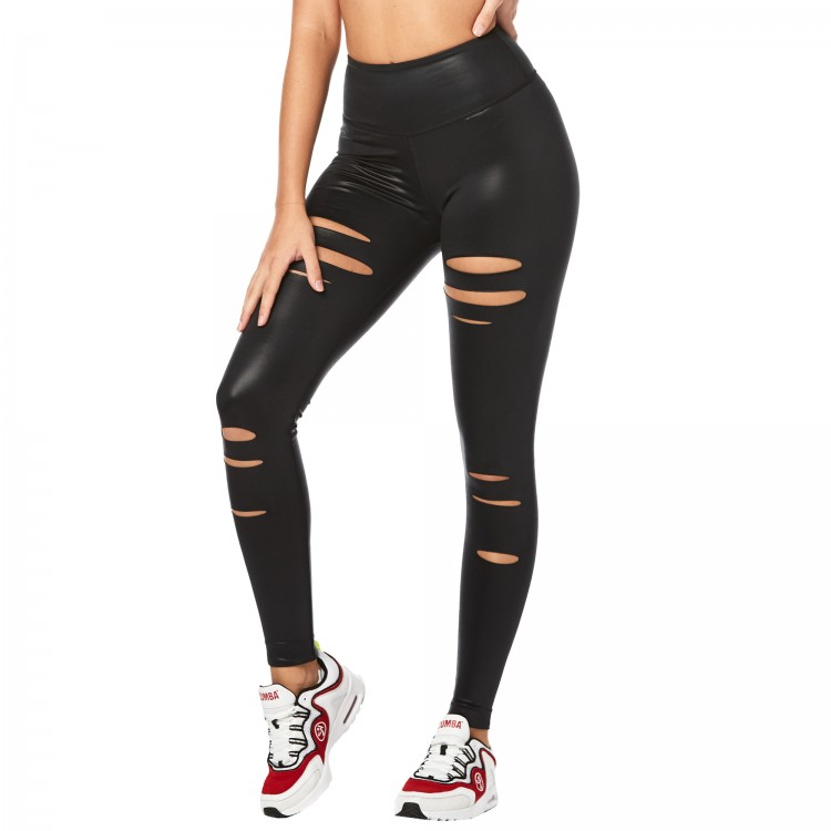 Zumba High Waisted Slashed Long Leggings