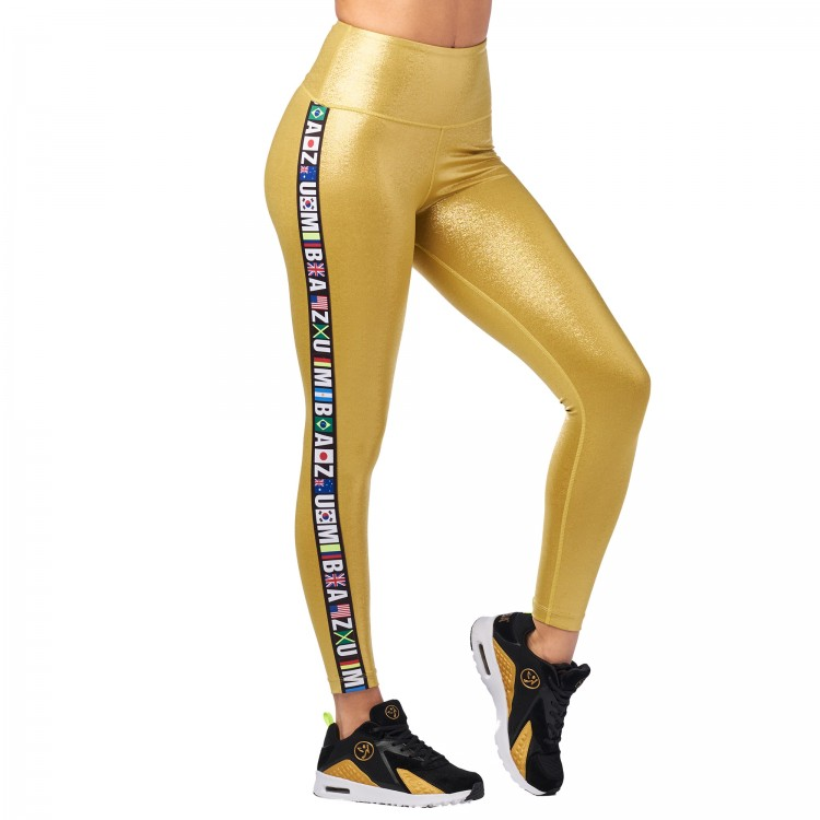 Zumba Metallic High Waisted Ankle Leggings