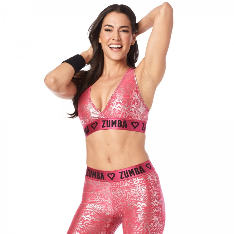 Zumba Has My Heart Metallic V-Bra