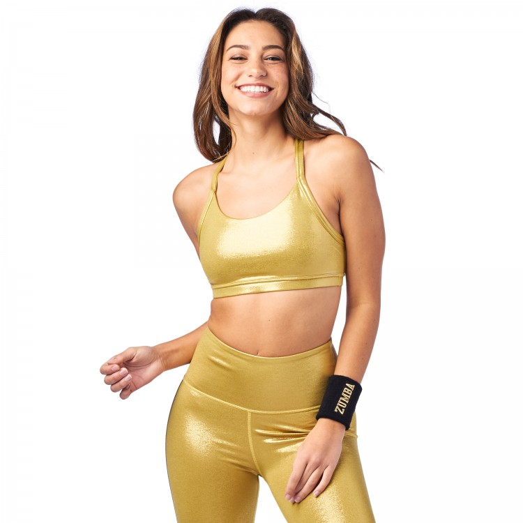 Zumba Metallic Open Back Bra