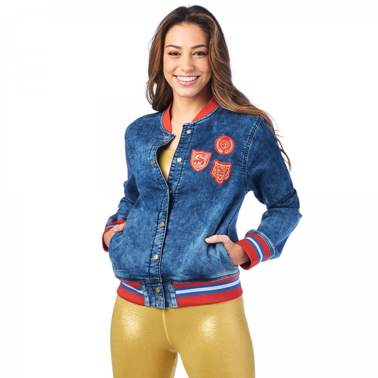 Zumba Spirit Denim Bomber Jacket
